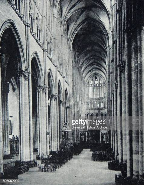 Photograph of the interior of the Cathedral of Amiens It was the seat of the Archdiocese of Amiens and where the coronations of the Kings of France...