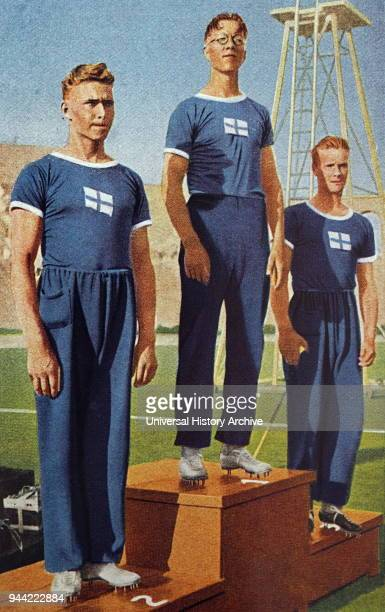 Photograph of the Javelin medal ceremony during the 1932 Olympic games. Finland finished 1st, 2nd and 3rd. Matti Jarvinen took Gold, Matti Sippala...