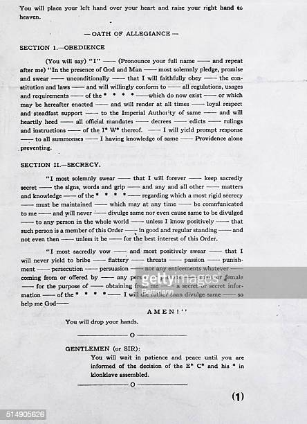 Photograph of the Ku Klux Klan Blood Oath. Section 1 deals with Obedience and Section 2 Deals with Secrecy.