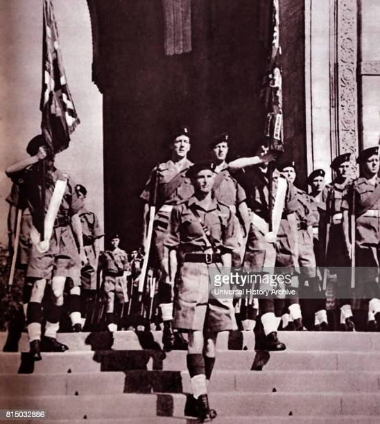 Photograph of the last remaining British troops leaving India through the India Gate Dated 20th Century