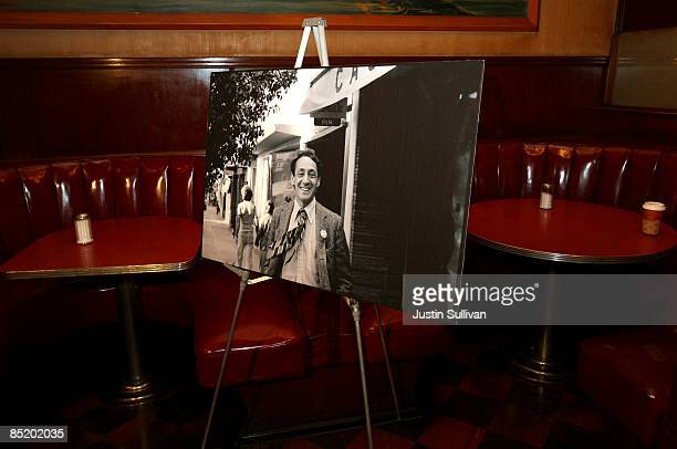 A photograph of the late gay activist Harvey Milk sits on a stand after a press conference announcing legislation to create a Harvey Milk Day in...