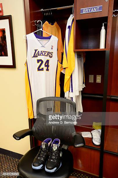 A photograph of the locker of Kobe Bryant of the Los Angeles Lakers before a game against the Toronto Raptors on December 8 2013 at STAPLES Center in...