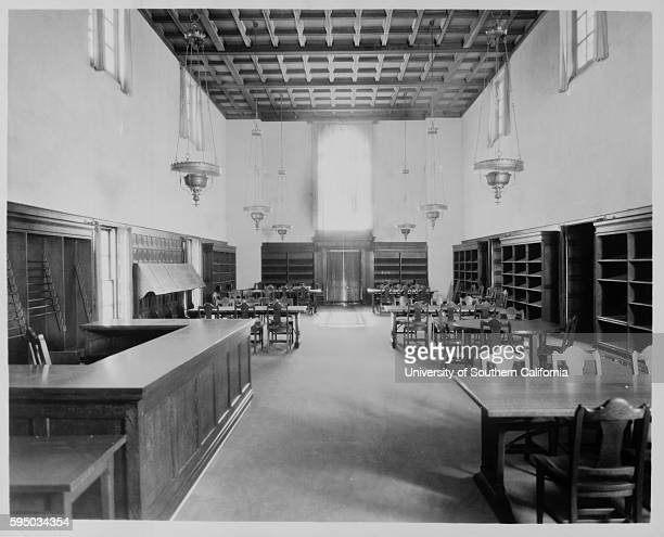 Photograph of the magazine and newspaper reading room of the Pasadena Public Library Pasadena California circa 1930