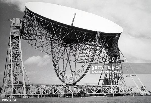Photograph of the Mark II radio telescope at Jodrell Bank University of Manchester as viewed from the control room Dated 20th century