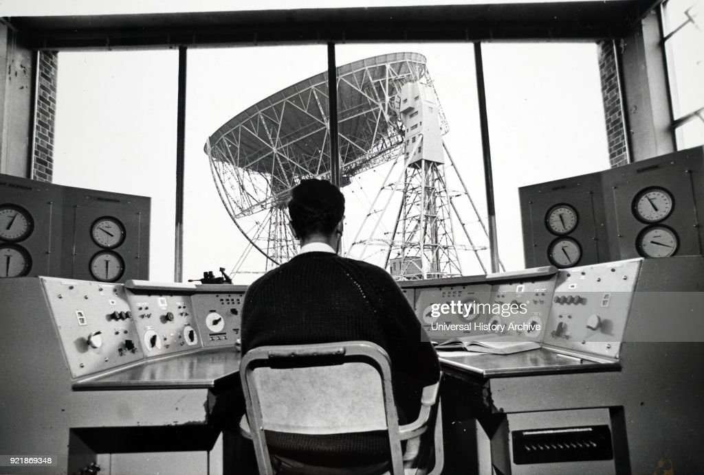 Photograph of the Mark II radio telescope at Jodrell Bank, University of Manchester, as viewed from the control room. Dated 20th century.