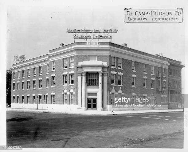 Photograph of the Medical Surgical Institute of Southern California Los Angeles Angelus Hospital sign visible in background 'Aug 24 1928' stamped on...