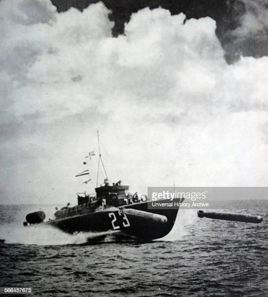 Photograph of the Motor Torpedo Boat Equipped with torpedo tubes and armed with small guns and can travel up to 46 MPH Dated 1944