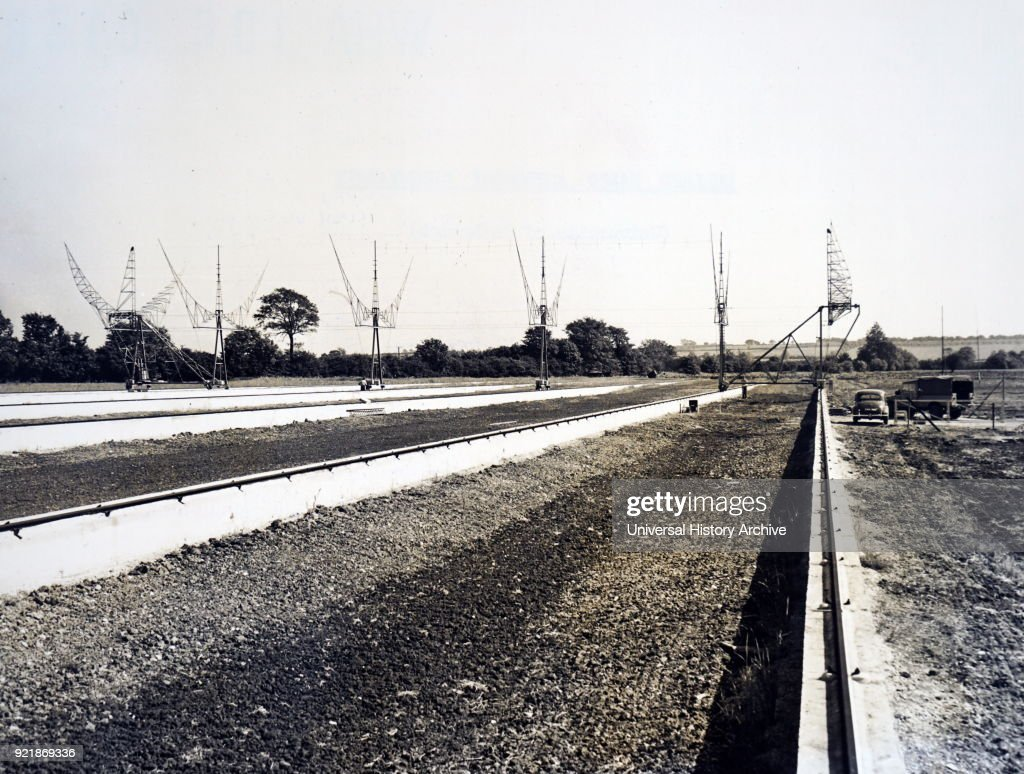 Photograph of the moving aerial and railway tracks of the radio star interferometer. Dated 20th century.