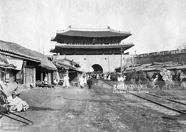 Photograph of the Namdaeum the Great South Gate in Seoul Korea Dated 1904