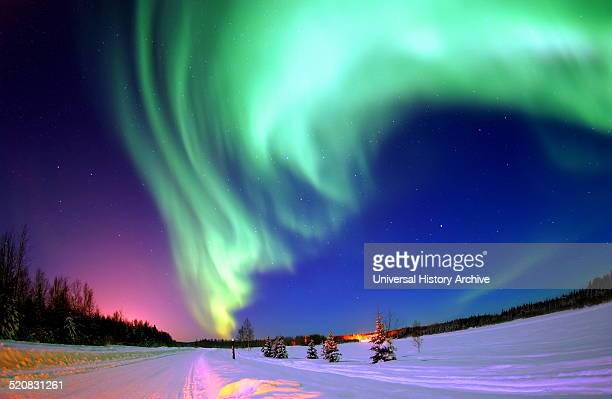 Photograph of the Northern Lights also known as an Aurora An aurora is a natural light display in the sky especially in the high latitude regions...