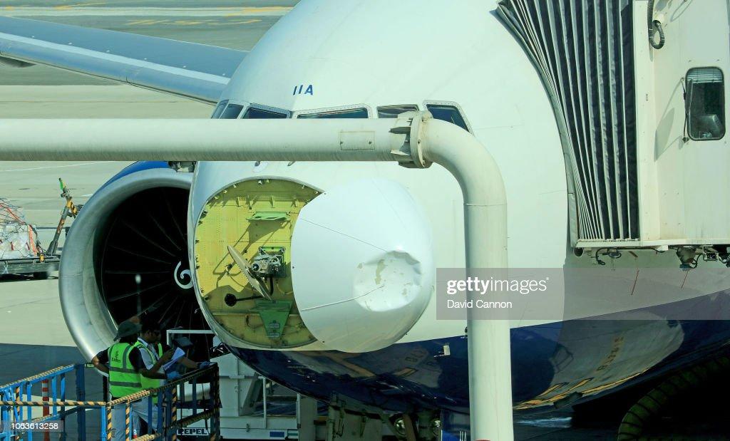 British Airways Boeing 777 Suffers Bird Strike Damage : News Photo