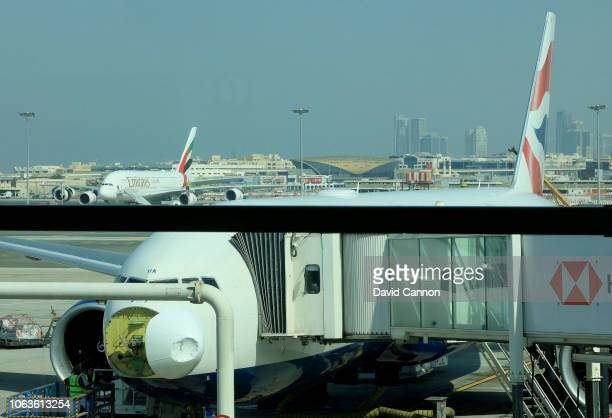 A photograph of the nose cone on a British Airways Boeing 777 that was damaged by a bird strike on approach to Dubai International Airport on...