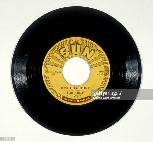 A photograph of the original 45rpm record of Elvis Presley's Sun Records 'You're a Heartbreaker' originally recorded on December 8 1954 in Memphis...