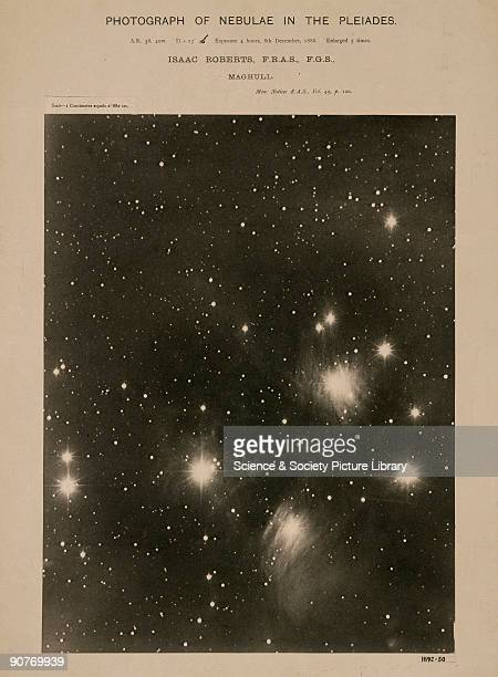 Photograph of the Pleides star cluster and its associated nebulosity taken on 8 December 1888 with an exposure of 4 hours Dr Isaac Roberts an amateur...