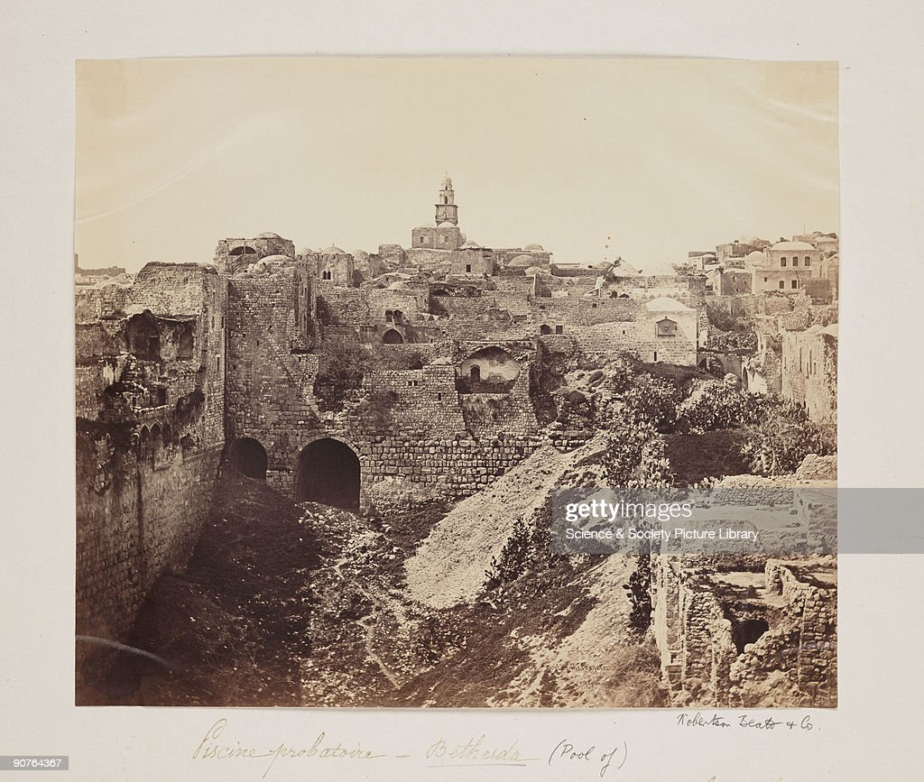 A photograph of the Pool of Bethesda, Jerusalem, taken by Robertson, Beato and Co. The Pool of Bethesda was where, according to the Bible, Jesus healed a man who had been lame for thirty-eight years. Felice Beato, a Venetian by birth, initially worked as a photographer in England. Around 1854 he began working with his brother-in-law James Robertson, based in Constantinople (Istanbul). Some photographs are signed 'Robertson, Beato and Co'. It is possible the 'and Co' refers to Felice's brother Antonio Beato. Robertson and Beato photographed the Crimean War in 1855 and the Indian Mutiny (1857-1858). Beato left the partnership with Robertson in 1860 to photograph the Opium War in China.