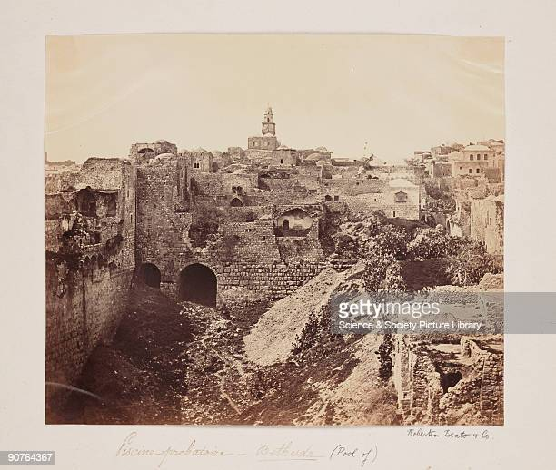 A photograph of the Pool of Bethesda Jerusalem taken by Robertson Beato and Co The Pool of Bethesda was where according to the Bible Jesus healed a...