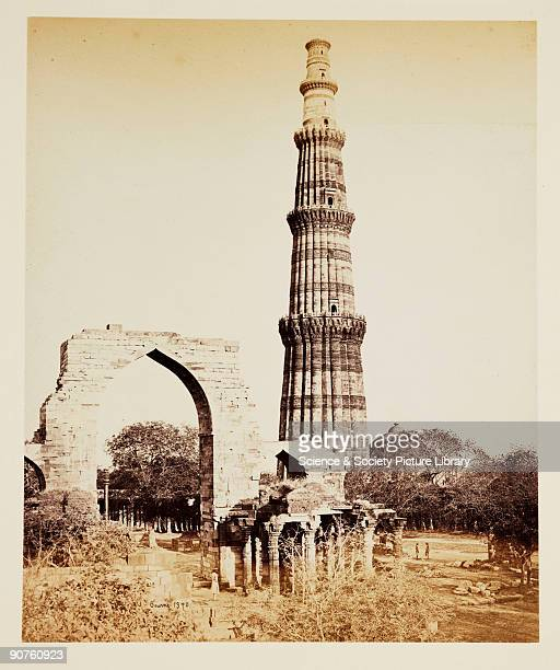 A photograph of the Qutub Minar tower Delhi India taken by Samuel Bourne The tower's foundations were laid in 1199 It has been used for various...