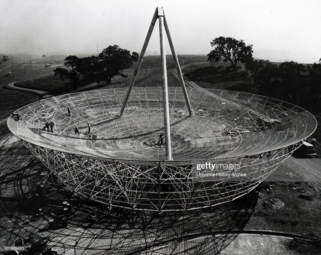 Photograph of the Radio Telescope Antenna erected at Stanford University. Dated 20th century.