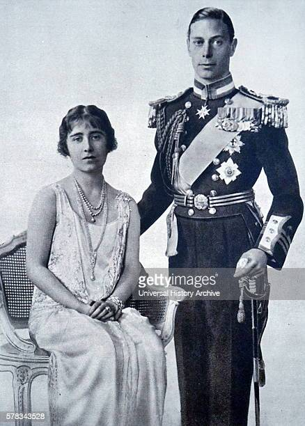 Photograph of the recently engaged Prince Albert Frederick Arthur George and Lady Elizabeth Bowes-Lyon in full dress for the King and Queen of...