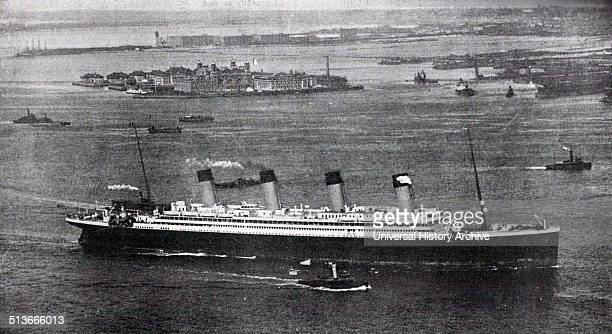 Photograph of the RMS Olympic sister ship to the Titanic arriving in New York after her maiden voyage Dated 1911