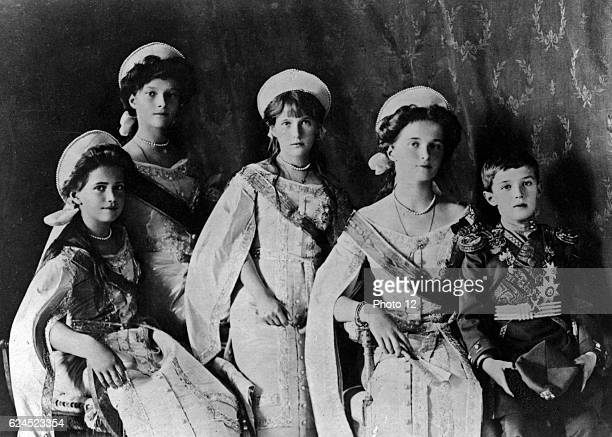 Photograph of the Romanov Children from the Russian Royal family taken in the early 1900's Showing Olga Tatiana Maria Anastasia and Aleksei posing...