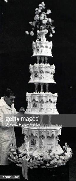 Photograph of the Royal Wedding Cake of Queen Elizabeth II and Prince Philip Duke of Edinburgh The cake was made by McVitie and Price Ltd Dated 20th...