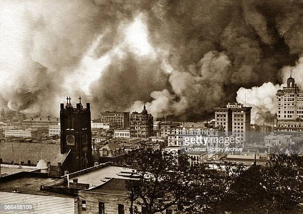 Photograph of the San Francisco Earthquake Fires burning in wholesale and financial districts of San Francisco Looking east from Nob Hill Dated 1906
