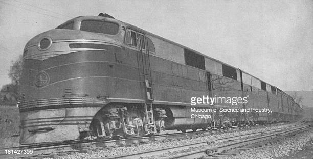 A photograph of the Shenandoah an ElectroMotive Diesel powered passenger train on the Baltimore and Ohio Railroad Akron Ohio 1946 It originally...