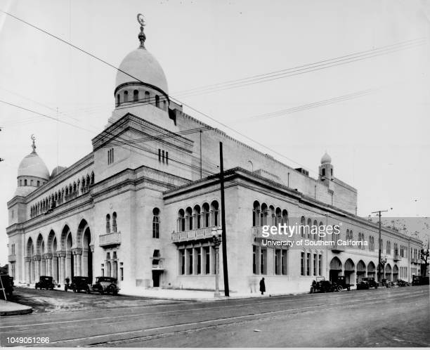 Photograph of the southwest corner of the Shrine Auditorium, 655 West Jefferson Boulevard at the corner of Royal Street, Los Angeles,...