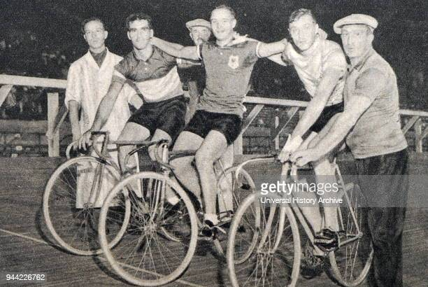 Photograph of the Sprint medalists at the 1932 Olympic games. Jacobus van Egmond from Holland took gold, Louis Chaillot from France took silver &v...
