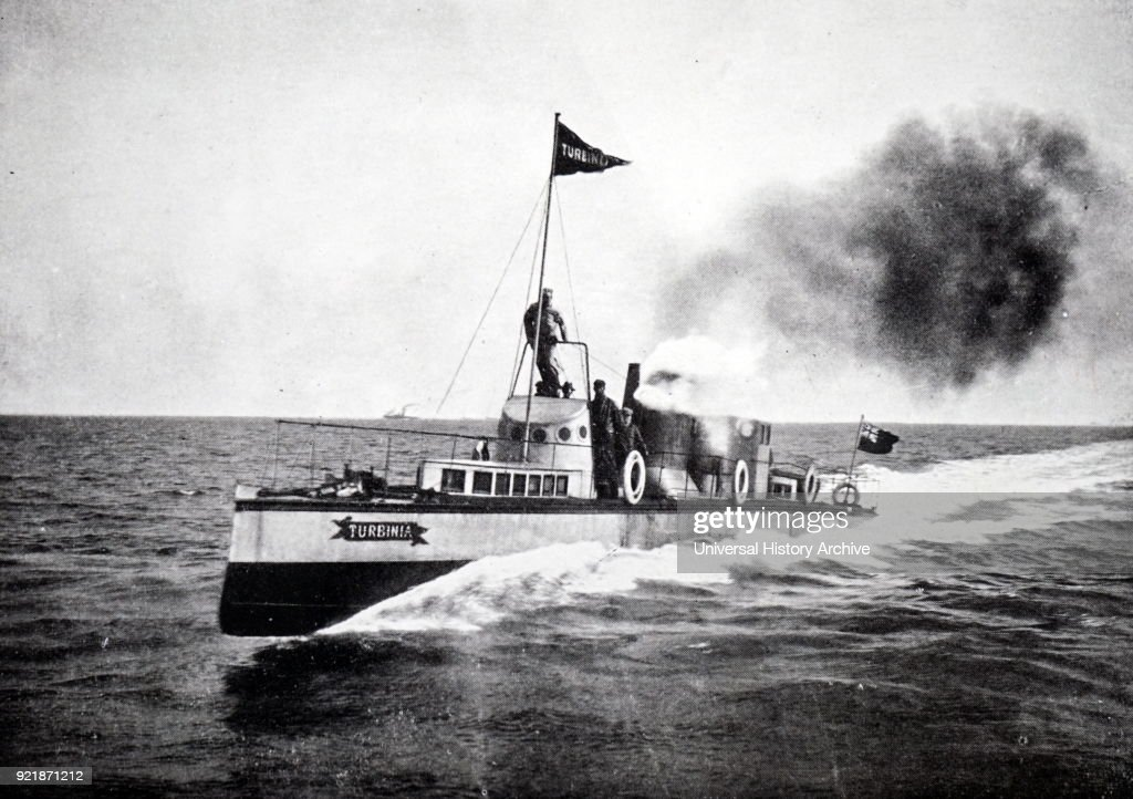 Photograph of the S.Y. Turbinia, the first vessel to be fitted with steam turbines. Dated 20th century.