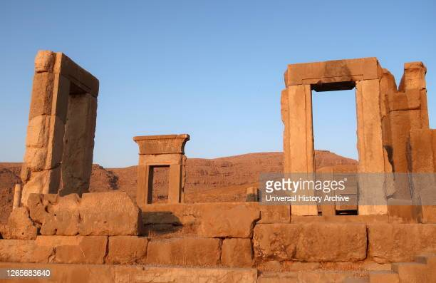 Photograph of the Tachara Palace ordered by Darius I, completed by his son Xerxes I, Achaemenid Empire ..