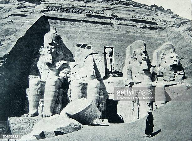 Photograph of the Temple of Rameses II at Abu Simbel Built under the mandate of the third pharaoh of Egptian Nineteenth Dynasty Ramses II