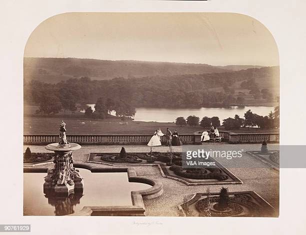 Photograph of the terrace and grounds of Harewood House near Leeds, taken by Roger Fenton . This photograph is one of a series taken by Fenton after...