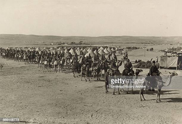 Photograph of the Turkish army Camel Corps at Beersheba during World War One Dated 1915