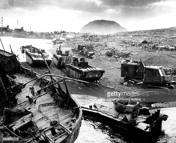 Photograph of the US Forces landing in Iwo Jima Bonin Islands Japan Dated 1945