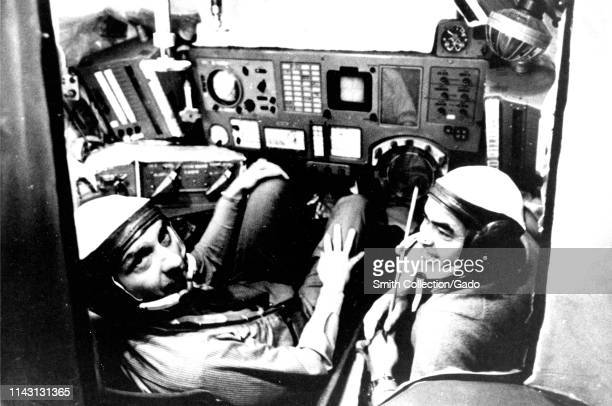Photograph of Thomas P Stafford and Andriyan G Nikolayev in the Soyuz simulator the ApolloSoyuz Test Project Moscow Russia October 17 1972 Image...