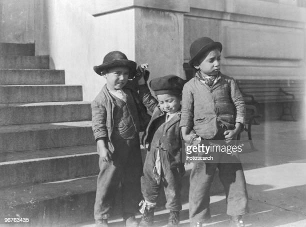 A Photograph of Three Young Immigrant Boys on Ellis Island New York circa 1880