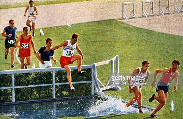 Photograph of Tom Evenson running the 3000 Meter Steeplechase during the 1932 Olympic games.