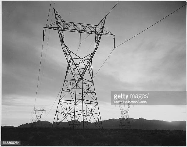 Photograph of Transmission Lines in Mojave Desert Leading from Boulder Dam Ansel Adams Photographs of National Parks and Monuments Image courtesy...