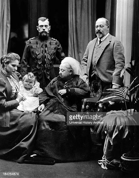 A photograph of Tsar Nicholas II Empress Alexandra Fedorovna Grand Duchess Olga Queen Victoria and Edward Prince of Wales taken in Balmoral castle in...