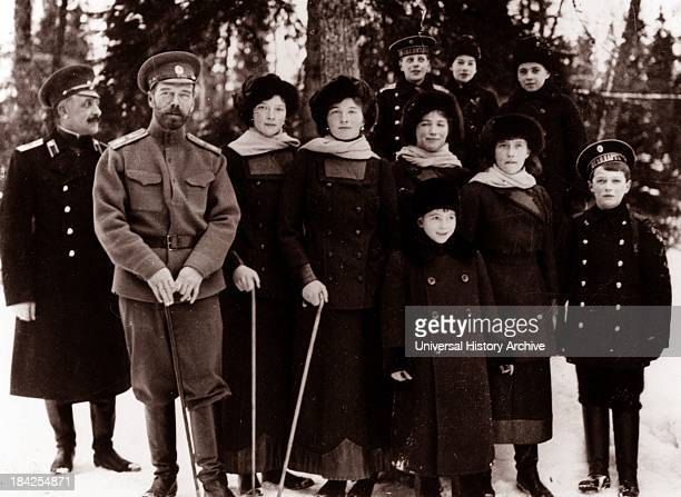 Photograph of Tsar Nicholas II from the Russian Royal Family around the time of his abdication in March 1917 The image shows the Romanovs stood...