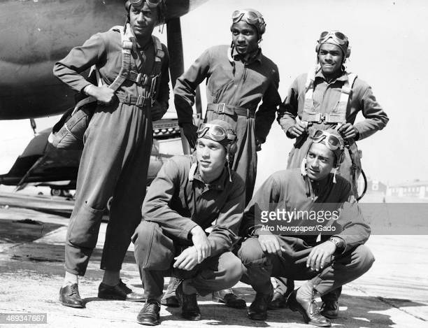 Photograph of Tuskegee airmen during World War 2 with fighter planes Tuskegee Alabama 1944