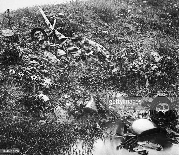 A 1917 photograph of two helmetwearing skulls of fallen French infantrymen in Verdun