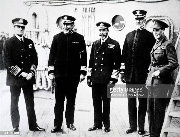 Photograph of US Admirals with King George V. Left to Right: David Beatty, 1st Earl Beatty , Admiral Hugh Rodman , King George V , William Sims , and...