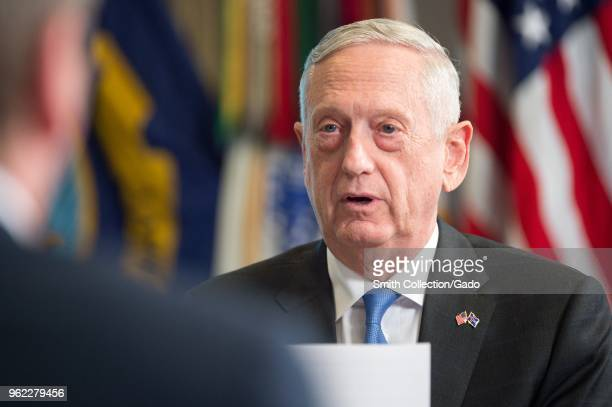 Photograph of US Secretary of Defense James Mattis speaking to Icelandic Minister for Foreign Affairs Thor Thordharson at the Pentagon building,...