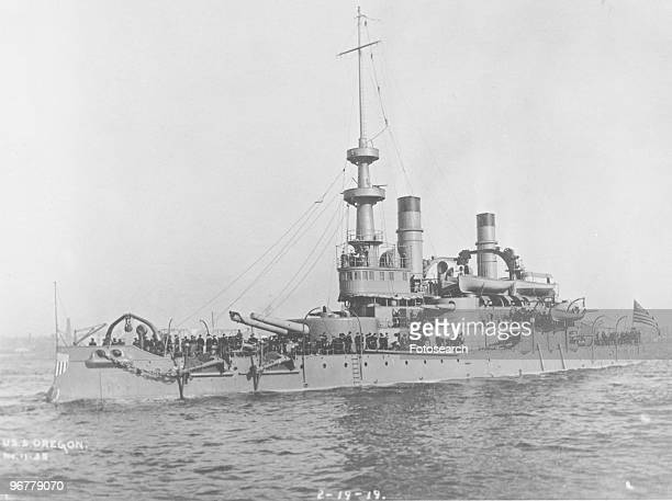A Photograph of USS Oregon Leaving New York City for Manila October 12th 1898