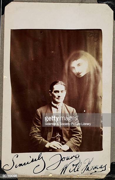 Lady ghost stalks frightened elderly professor Photograph ca 1910 BPA2# 2165