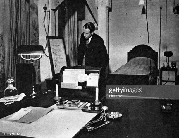 Photograph of Winton Churchill's combined office and bedroom during the Second World War. Dated 20th Century.