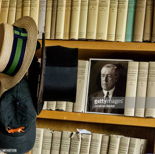 A photograph of Woodrow Wilson in Pulitzer Prize winning biographer A Scott Berg's home office is photographed for Vanity Fair Magazine on May 28...
